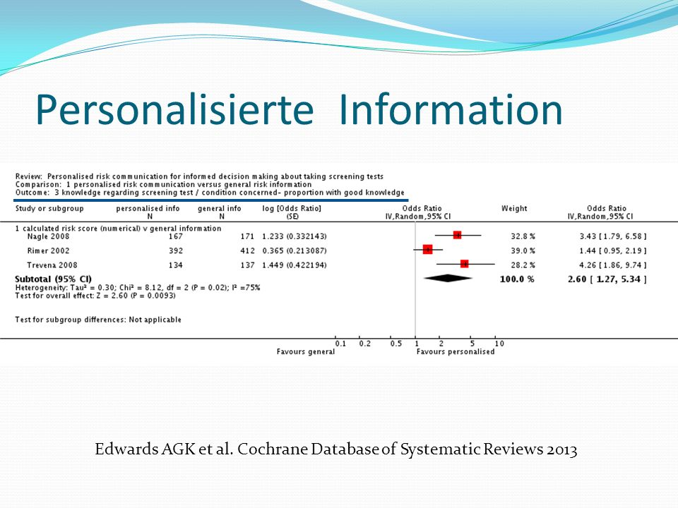 Edwards AGK et al. Cochrane Database of Systematic Reviews 2013 Personalisierte Information