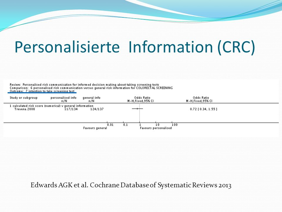 Edwards AGK et al. Cochrane Database of Systematic Reviews 2013 Personalisierte Information (CRC)
