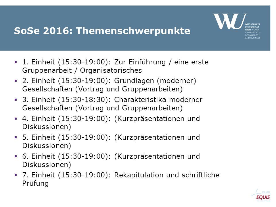 SoSe 2016: Themenschwerpunkte  1.