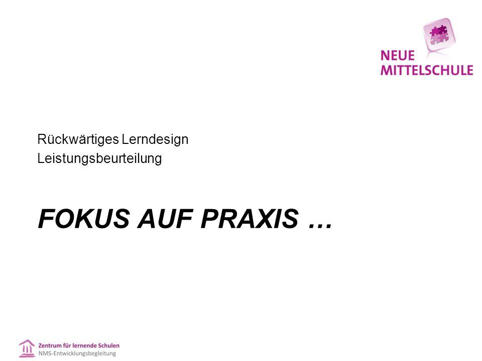Rückwärtiges Lerndesign Leistungsbeurteilung FOKUS AUF PRAXIS …