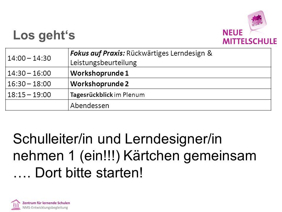Los geht's 14:00 – 14:30 Fokus auf Praxis: Rückwärtiges Lerndesign & Leistungsbeurteilung 14:30 – 16:00Workshoprunde 1 16:30 – 18:00Workshoprunde 2 18:15 – 19:00 Tagesrückblick im Plenum Abendessen Schulleiter/in und Lerndesigner/in nehmen 1 (ein!!!) Kärtchen gemeinsam ….