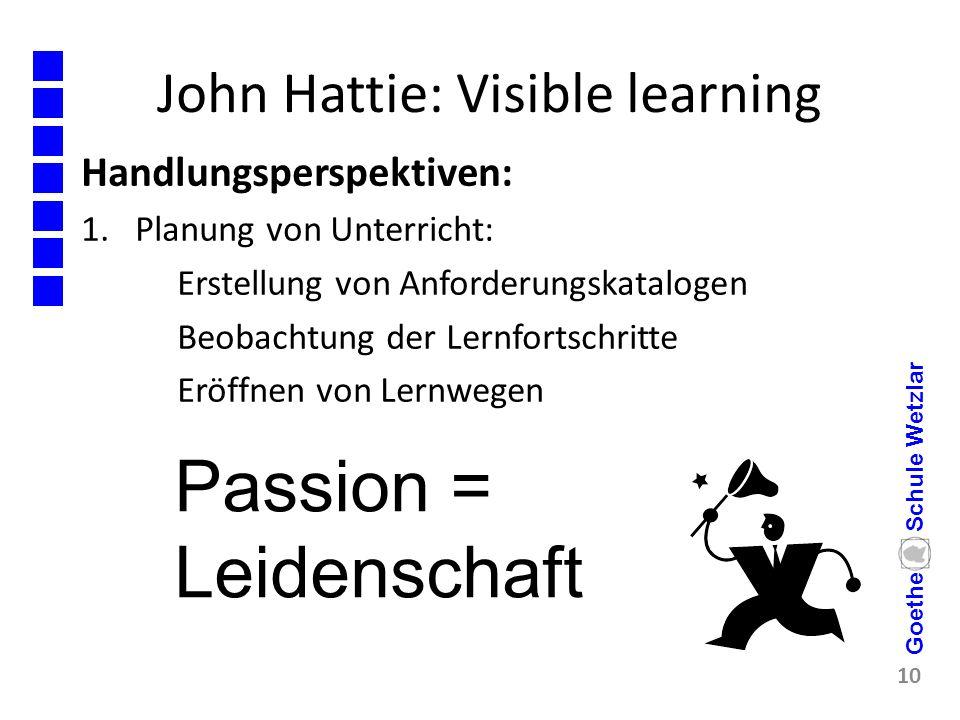 John Hattie: Visible learning Handlungsperspektiven: 1.Planung von Unterricht: Erstellung von Anforderungskatalogen Beobachtung der Lernfortschritte E