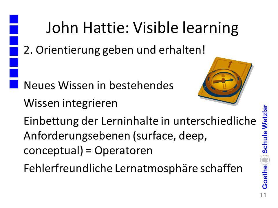 John Hattie: Visible learning 2. Orientierung geben und erhalten! Neues Wissen in bestehendes Wissen integrieren Einbettung der Lerninhalte in untersc