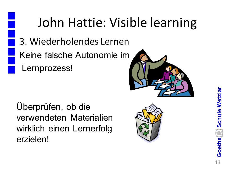 John Hattie: Visible learning 3. Wiederholendes Lernen Keine falsche Autonomie im Lernprozess! 13 Goethe Schule Wetzlar Überprüfen, ob die verwendeten