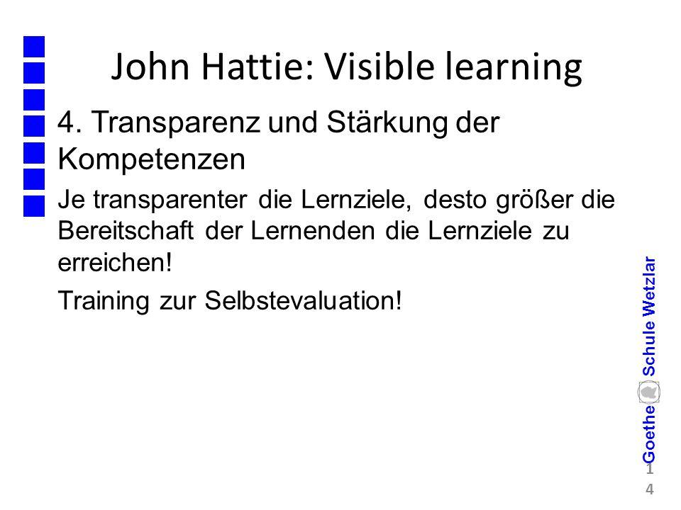 John Hattie: Visible learning 4. Transparenz und Stärkung der Kompetenzen Je transparenter die Lernziele, desto größer die Bereitschaft der Lernenden