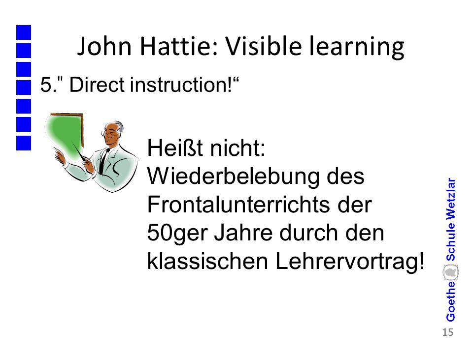 """John Hattie: Visible learning 5. ̎ Direct instruction!"""" 15 Goethe Schule Wetzlar Heißt nicht: Wiederbelebung des Frontalunterrichts der 50ger Jahre du"""