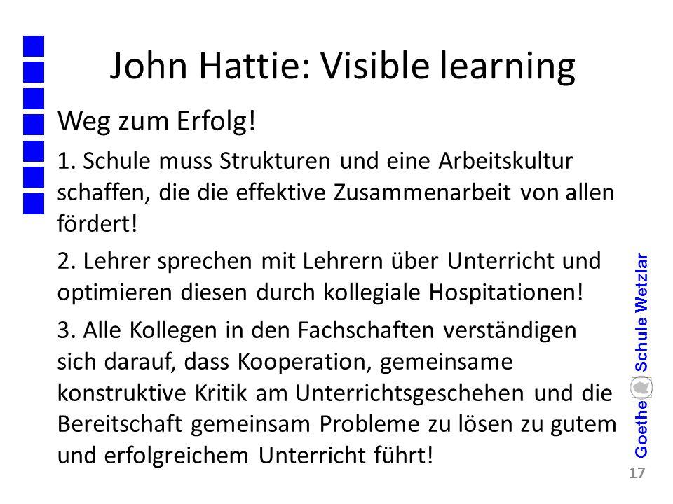 John Hattie: Visible learning Weg zum Erfolg! 1. Schule muss Strukturen und eine Arbeitskultur schaffen, die die effektive Zusammenarbeit von allen fö