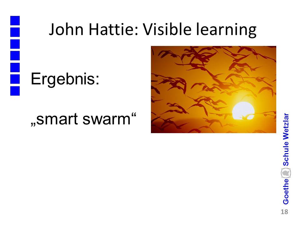 "John Hattie: Visible learning 18 Goethe Schule Wetzlar Ergebnis: ""smart swarm"""