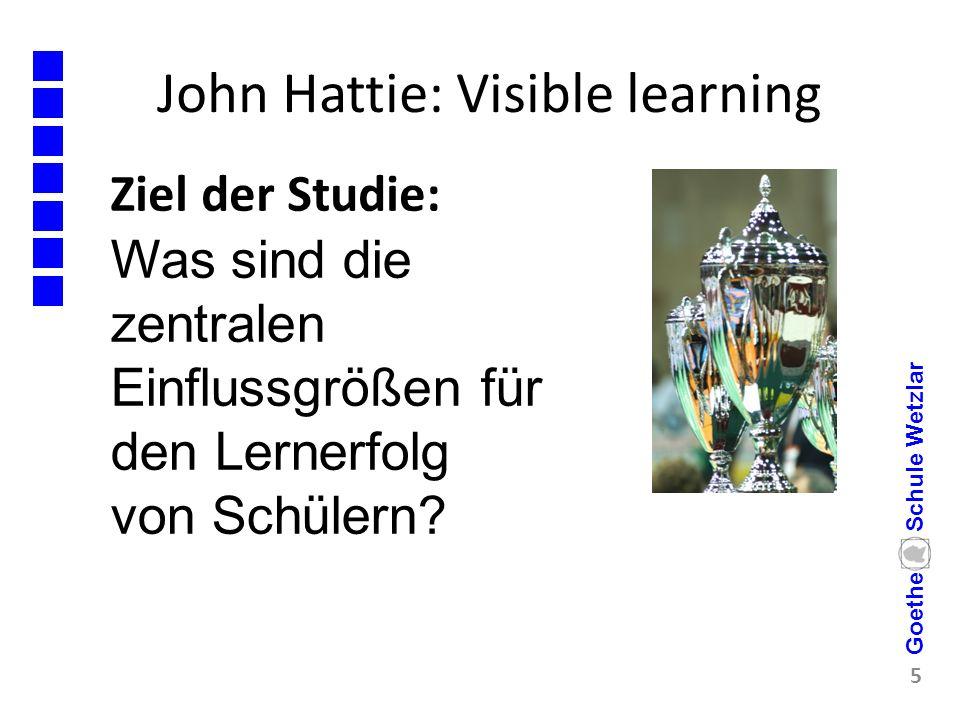 John Hattie: Visible learning Ziel der Studie: 5 Goethe Schule Wetzlar Was sind die zentralen Einflussgrößen für den Lernerfolg von Schülern?