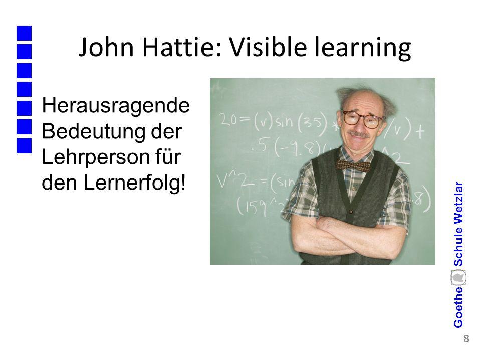 John Hattie: Visible learning 8 Goethe Schule Wetzlar Herausragende Bedeutung der Lehrperson für den Lernerfolg!