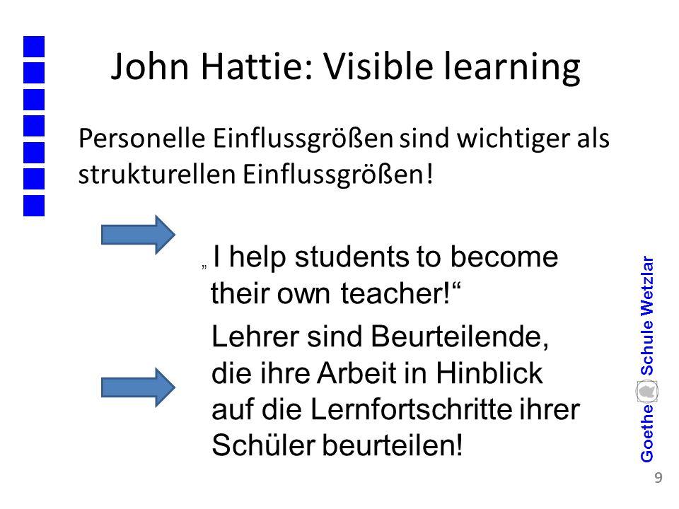 """John Hattie: Visible learning Personelle Einflussgrößen sind wichtiger als strukturellen Einflussgrößen! 9 Goethe Schule Wetzlar """" I help students to"""