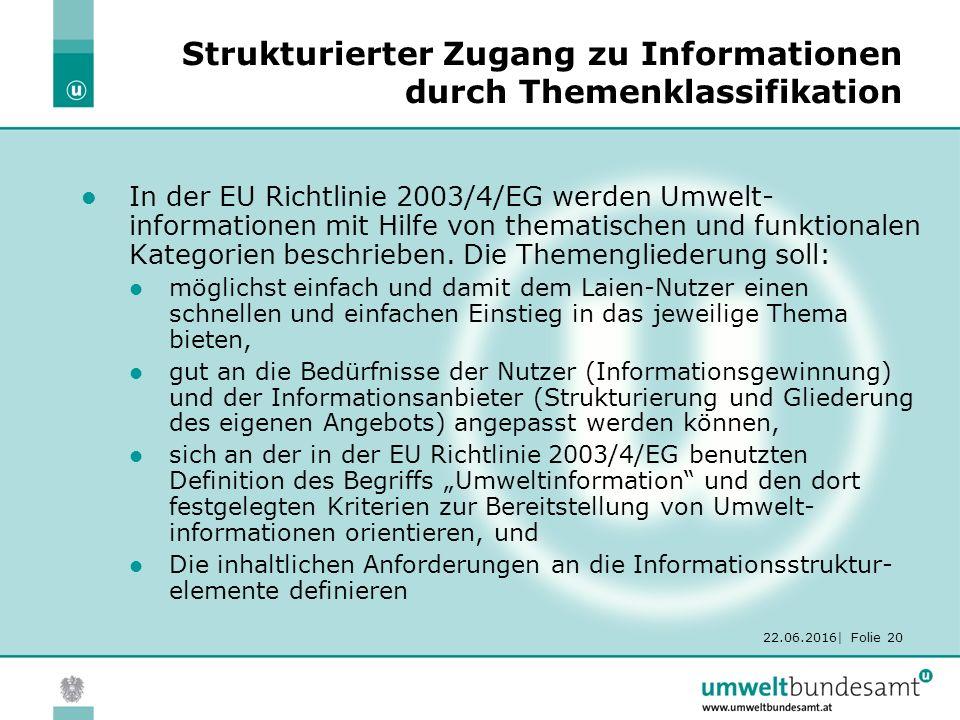 22.06.2016| Folie 20 Strukturierter Zugang zu Informationen durch Themenklassifikation In der EU Richtlinie 2003/4/EG werden Umwelt- informationen mit Hilfe von thematischen und funktionalen Kategorien beschrieben.