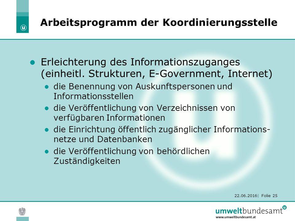 22.06.2016| Folie 25 Arbeitsprogramm der Koordinierungsstelle Erleichterung des Informationszuganges (einheitl.