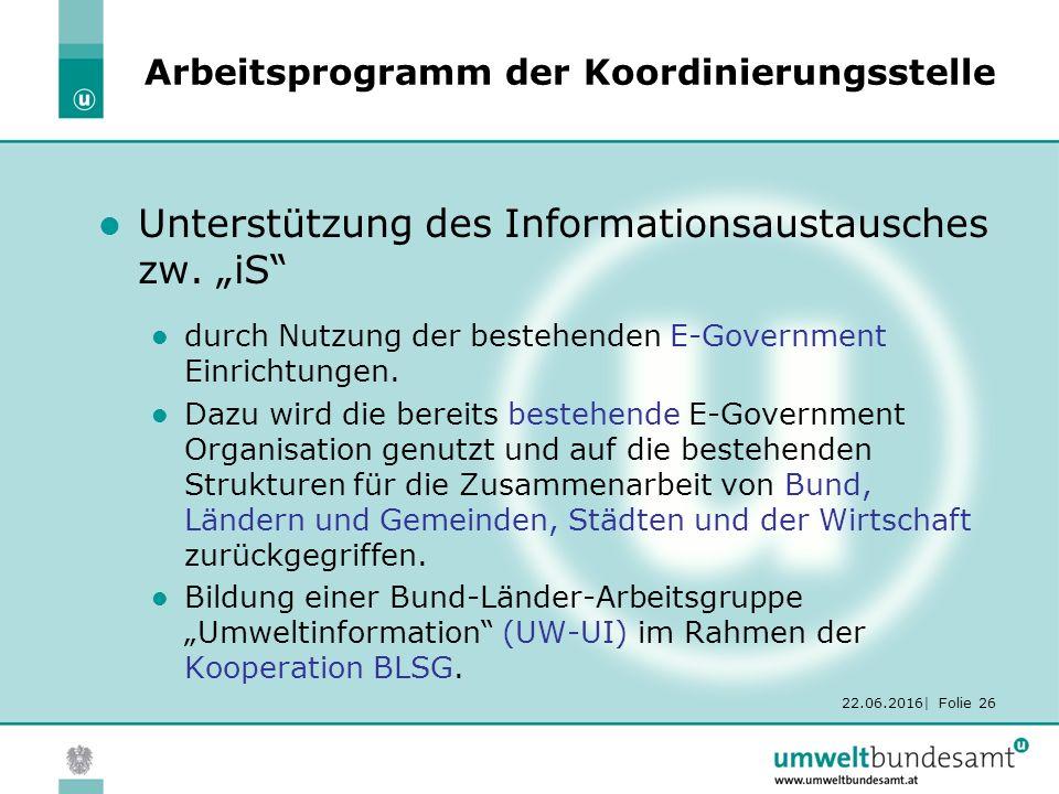 22.06.2016| Folie 26 Arbeitsprogramm der Koordinierungsstelle Unterstützung des Informationsaustausches zw.
