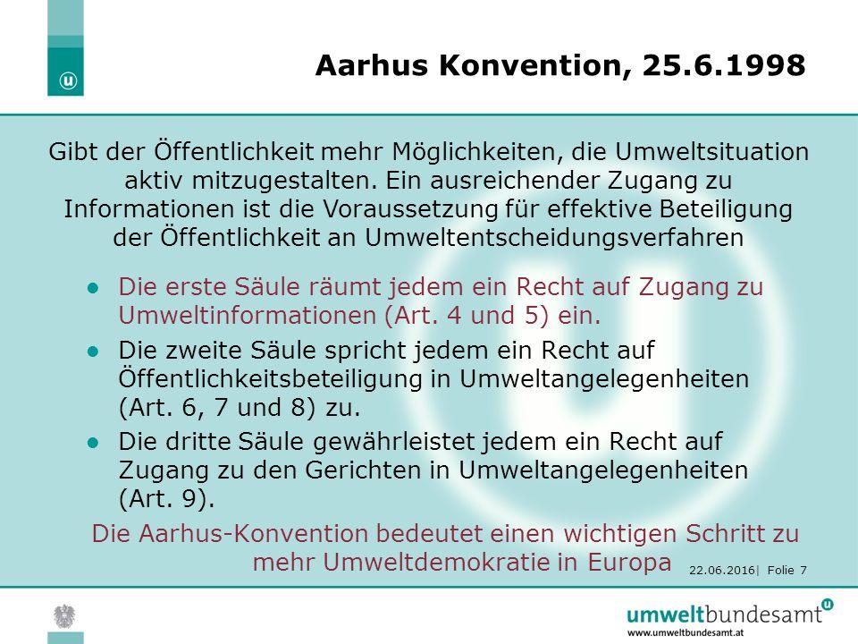 22.06.2016| Folie 7 Aarhus Konvention, 25.6.1998 Die erste Säule räumt jedem ein Recht auf Zugang zu Umweltinformationen (Art.