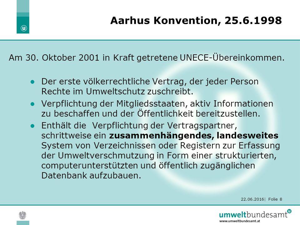 22.06.2016| Folie 8 Aarhus Konvention, 25.6.1998 Der erste völkerrechtliche Vertrag, der jeder Person Rechte im Umweltschutz zuschreibt.