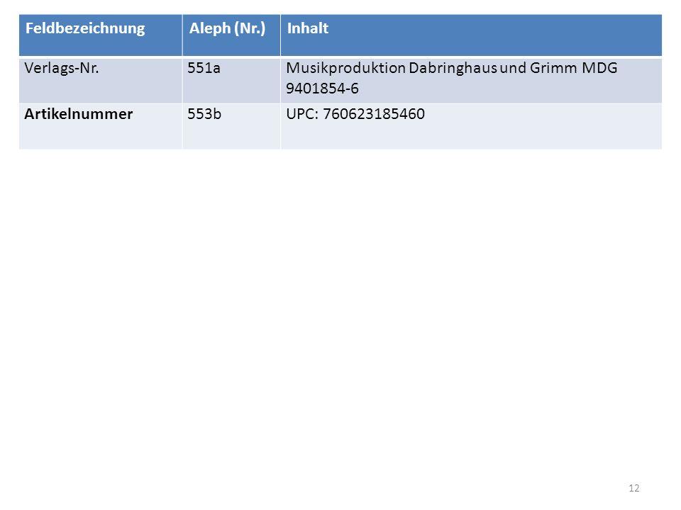 Lösung Trio D 929 12 FeldbezeichnungAleph (Nr.)Inhalt Verlags-Nr.551aMusikproduktion Dabringhaus und Grimm MDG 9401854-6 Artikelnummer553bUPC: 7606231