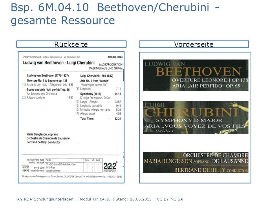 AG RDA Schulungsunterlagen – Modul 6M.04.10 | Stand: 26.06.2015 | CC BY-NC-SA RückseiteVorderseite Bsp. 6M.04.10 Beethoven/Cherubini - gesamte Ressour