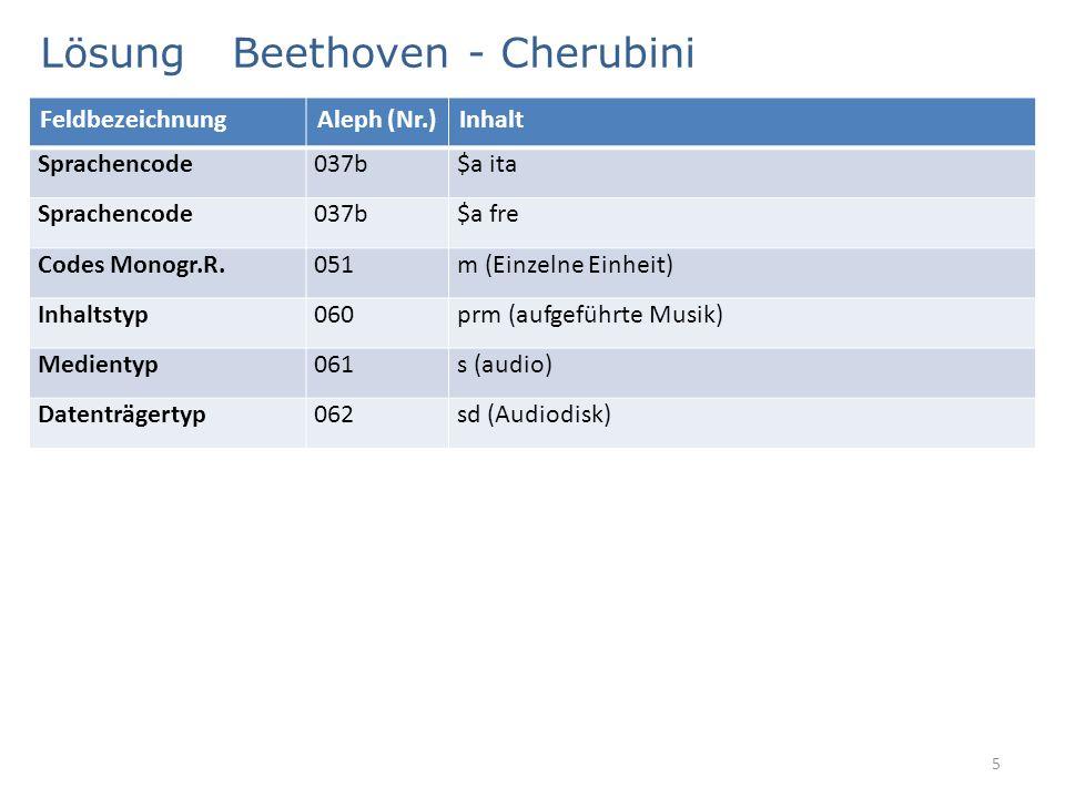 Lösung Beethoven - Cherubini 5 FeldbezeichnungAleph (Nr.)Inhalt Sprachencode037b$a ita Sprachencode037b$a fre Codes Monogr.R.051m (Einzelne Einheit) I