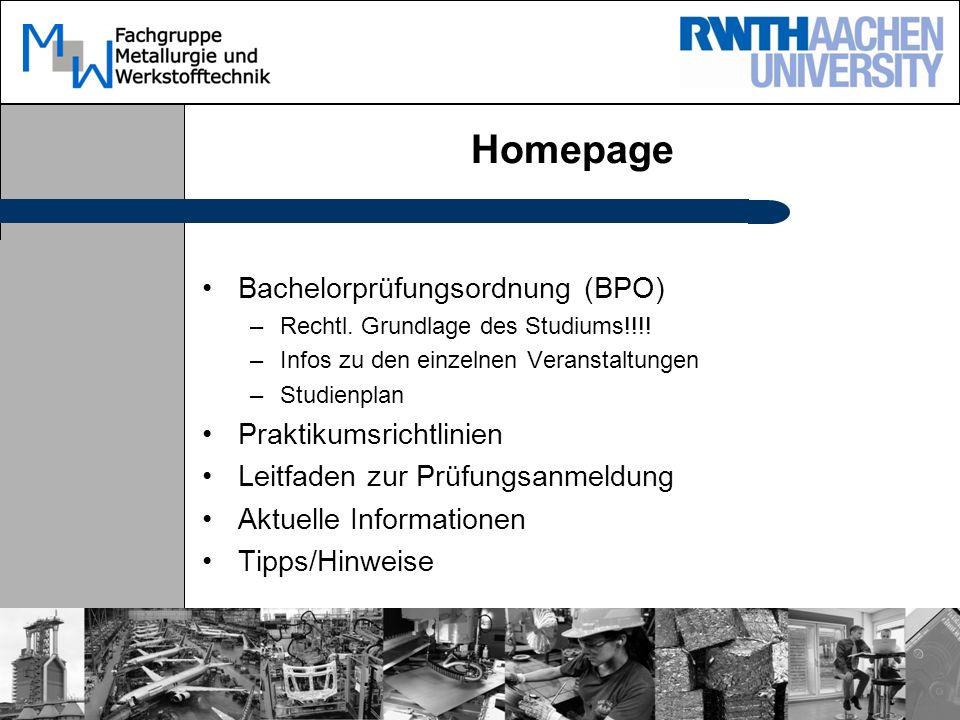Homepage Bachelorprüfungsordnung (BPO) –Rechtl. Grundlage des Studiums!!!.