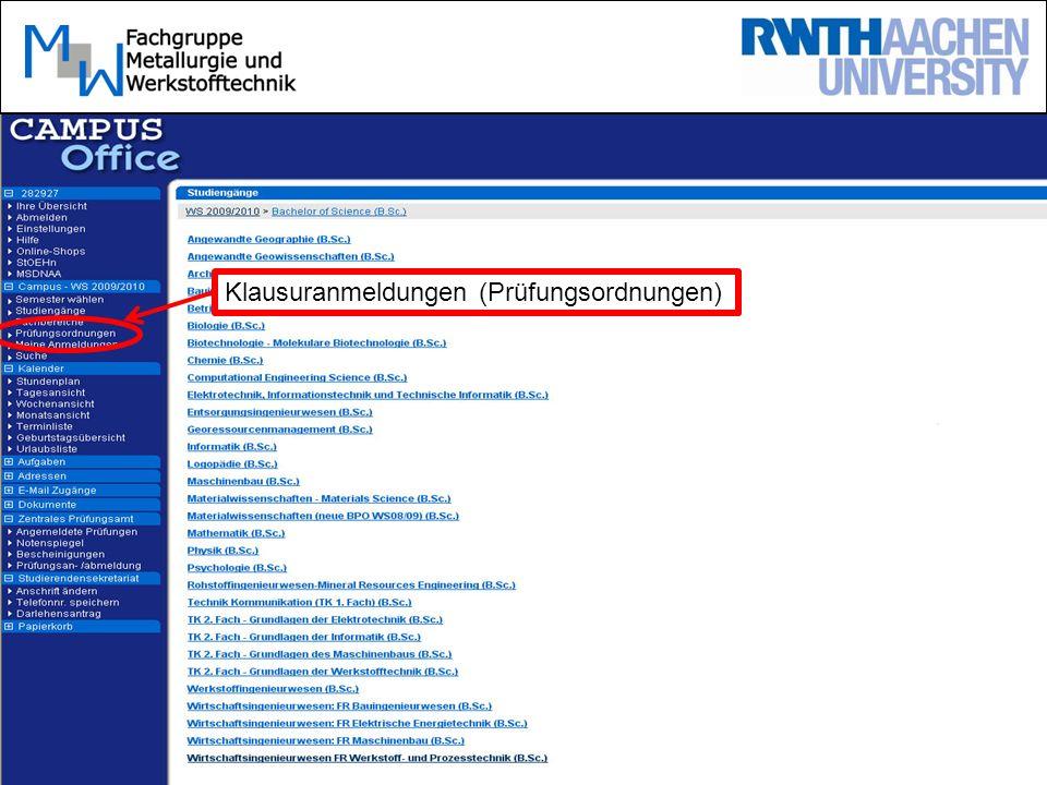 Homepage Bachelorprüfungsordnung (BPO) –Rechtl.Grundlage des Studiums!!!.