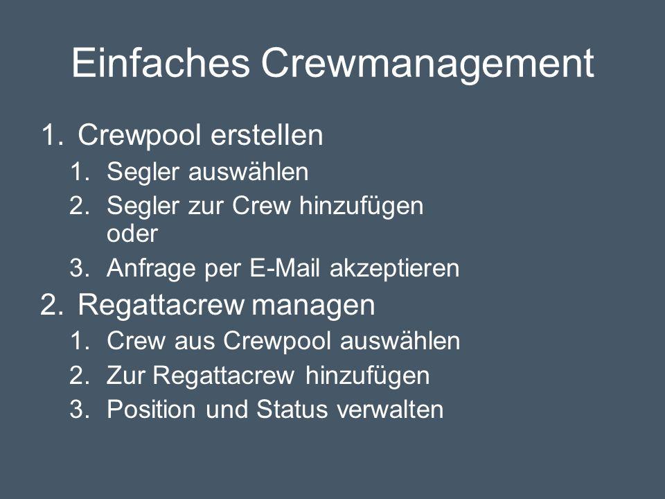 Einfaches Crewmanagement 1.Crewpool erstellen 1.Segler auswählen 2.Segler zur Crew hinzufügen oder 3.Anfrage per E-Mail akzeptieren 2.Regattacrew managen 1.Crew aus Crewpool auswählen 2.Zur Regattacrew hinzufügen 3.Position und Status verwalten