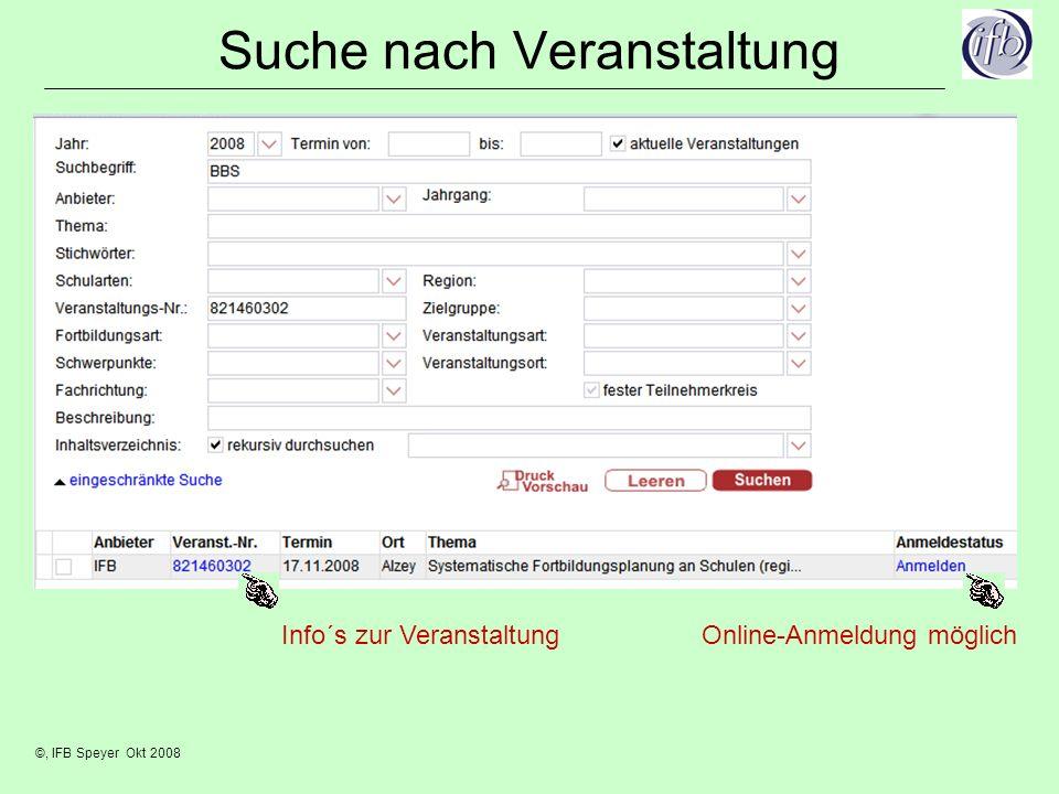 ©, IFB Speyer Okt 2008 Suche nach Veranstaltung Online-Anmeldung möglichInfo´s zur Veranstaltung