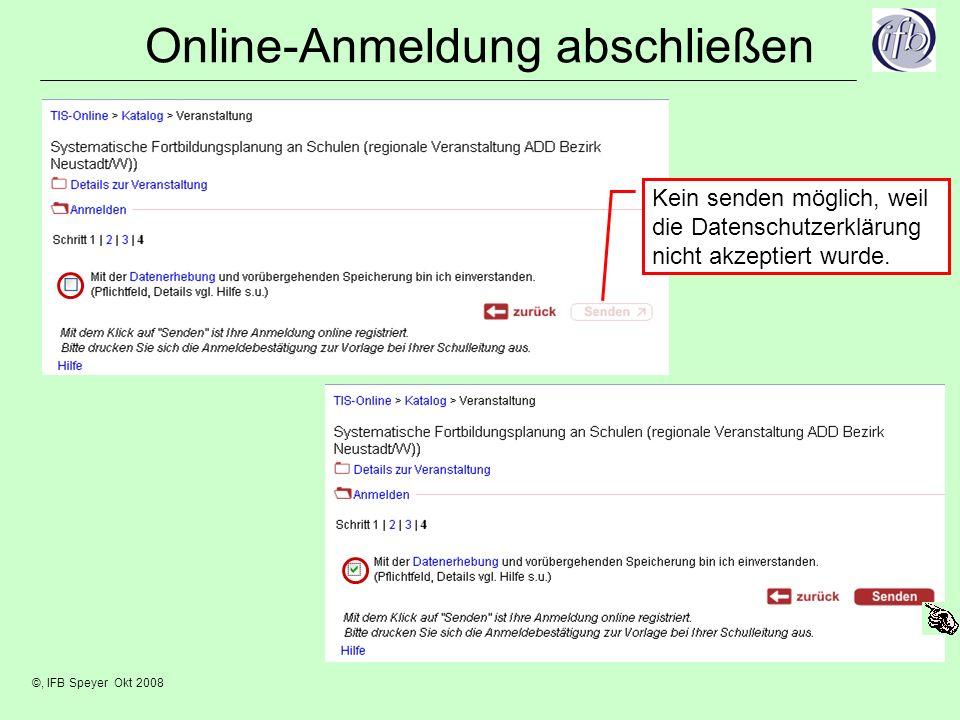 ©, IFB Speyer Okt 2008 Anmeldebestätigung drucken (1) Anmeldebestätigung