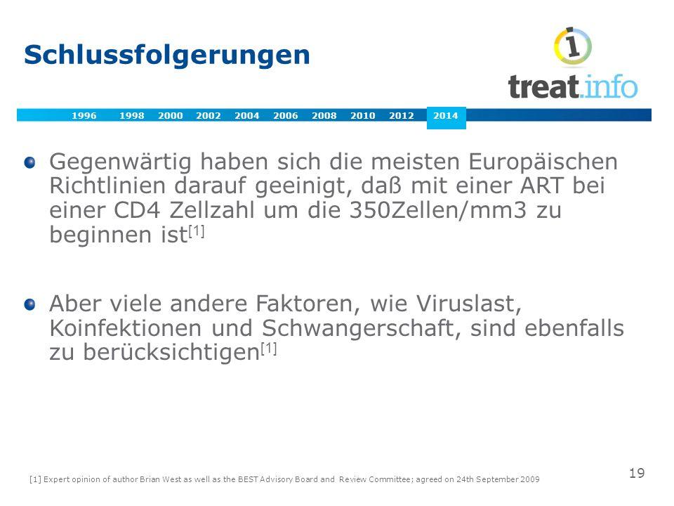 Gegenwärtig haben sich die meisten Europäischen Richtlinien darauf geeinigt, daß mit einer ART bei einer CD4 Zellzahl um die 350Zellen/mm3 zu beginnen ist [1] Aber viele andere Faktoren, wie Viruslast, Koinfektionen und Schwangerschaft, sind ebenfalls zu berücksichtigen [1] [1] Expert opinion of author Brian West as well as the BEST Advisory Board and Review Committee; agreed on 24th September 2009 19 2009 Schlussfolgerungen 1996 1998 2000 2002 2004 2006 2008 2010 2012 2014