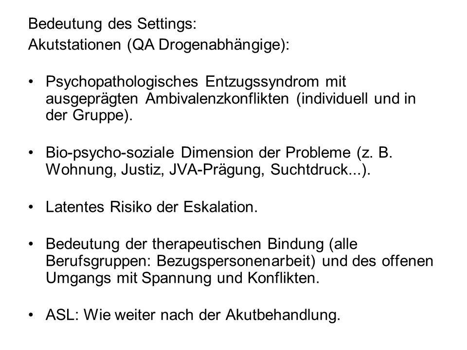 Bedeutung des Settings: Akutstationen (QA Drogenabhängige): Psychopathologisches Entzugssyndrom mit ausgeprägten Ambivalenzkonflikten (individuell und in der Gruppe).