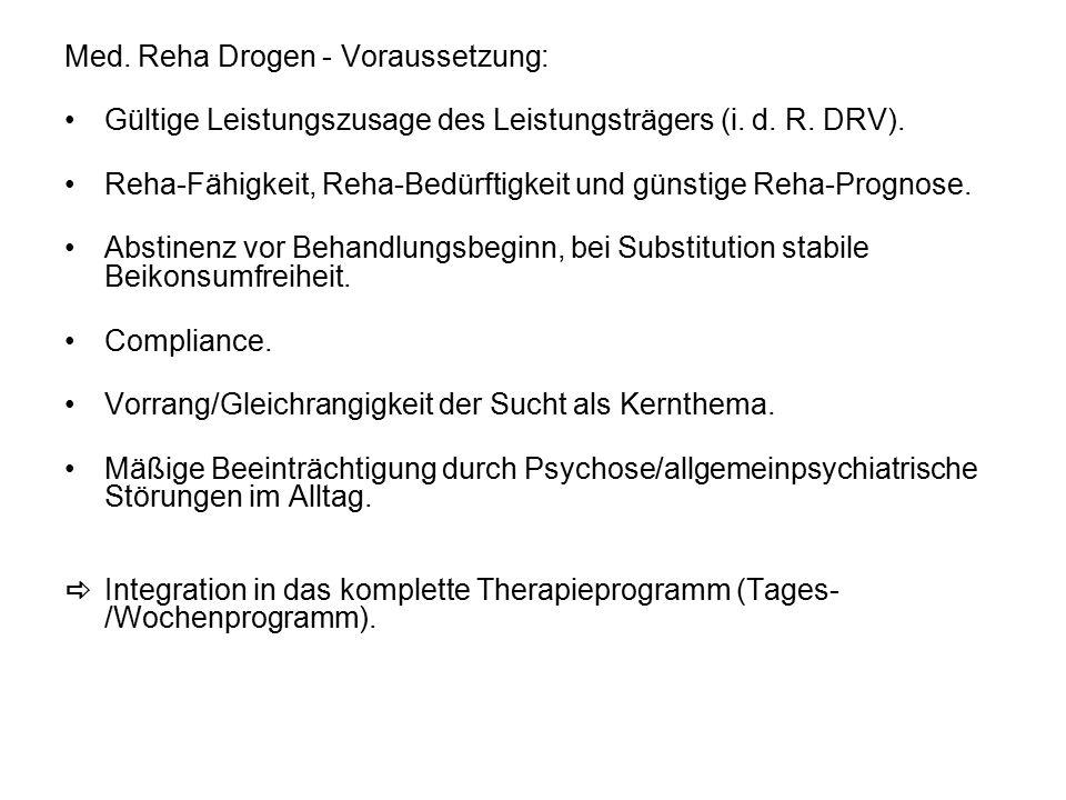Med. Reha Drogen - Voraussetzung: Gültige Leistungszusage des Leistungsträgers (i.