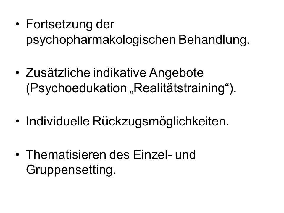 Fortsetzung der psychopharmakologischen Behandlung.