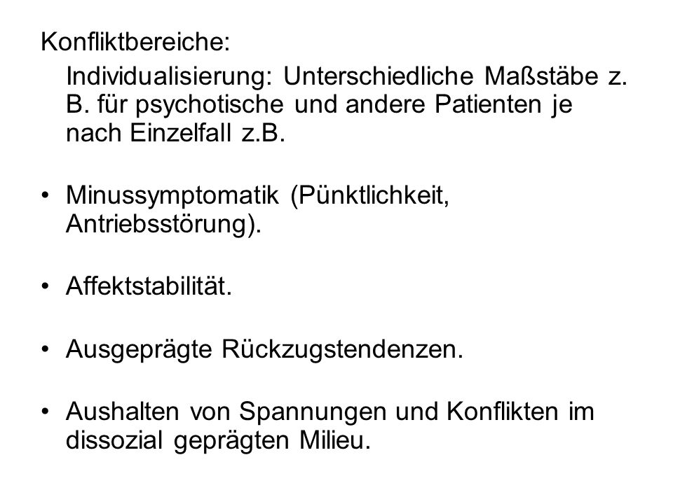 Konfliktbereiche: Individualisierung: Unterschiedliche Maßstäbe z.