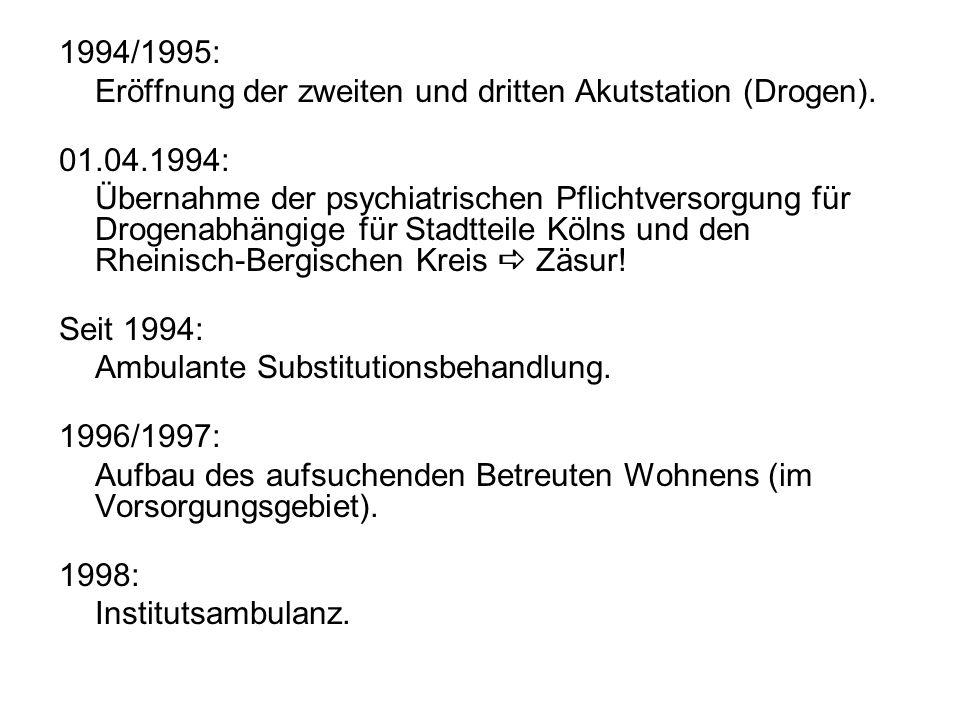 1994/1995: Eröffnung der zweiten und dritten Akutstation (Drogen).