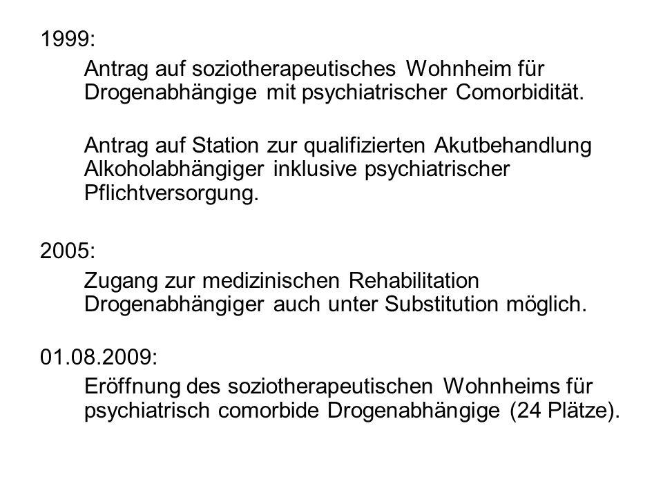 1999: Antrag auf soziotherapeutisches Wohnheim für Drogenabhängige mit psychiatrischer Comorbidität.