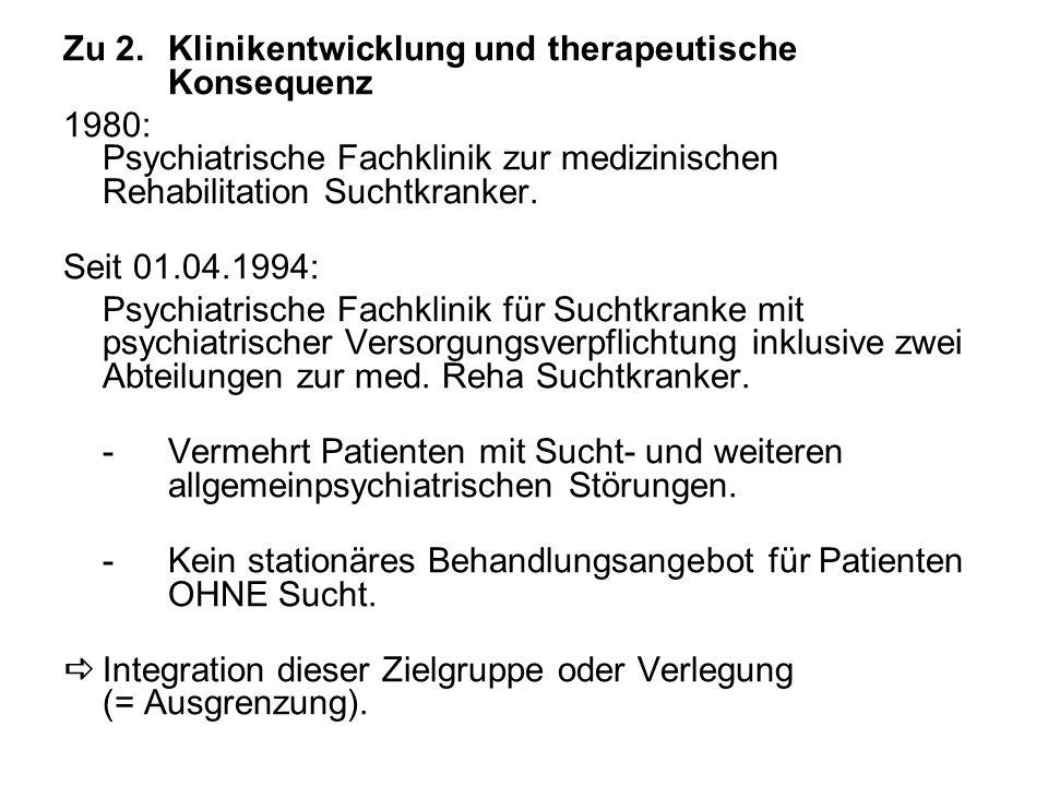 Zu 2.Klinikentwicklung und therapeutische Konsequenz 1980: Psychiatrische Fachklinik zur medizinischen Rehabilitation Suchtkranker.