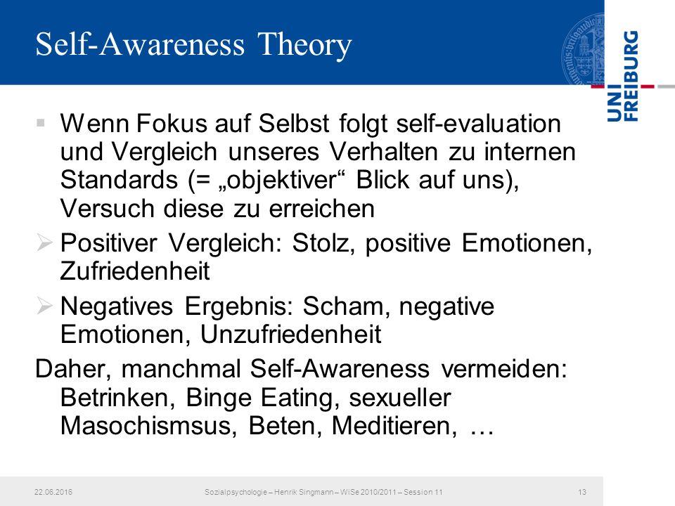 """ Wenn Fokus auf Selbst folgt self-evaluation und Vergleich unseres Verhalten zu internen Standards (= """"objektiver"""" Blick auf uns), Versuch diese zu e"""