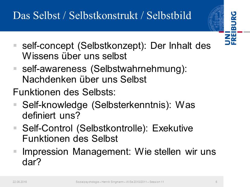  self-concept (Selbstkonzept): Der Inhalt des Wissens über uns selbst  self-awareness (Selbstwahrnehmung): Nachdenken über uns Selbst Funktionen des