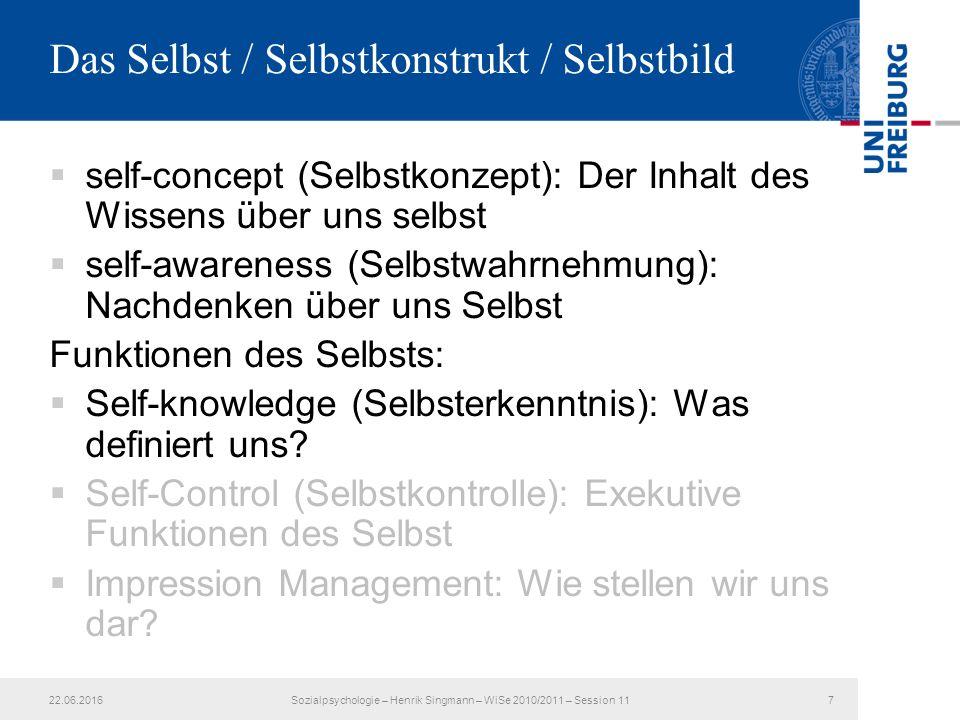  self-concept (Selbstkonzept): Der Inhalt des Wissens über uns selbst  self-awareness (Selbstwahrnehmung): Nachdenken über uns Selbst Funktionen des Selbsts:  Self-knowledge (Selbsterkenntnis): Was definiert uns.