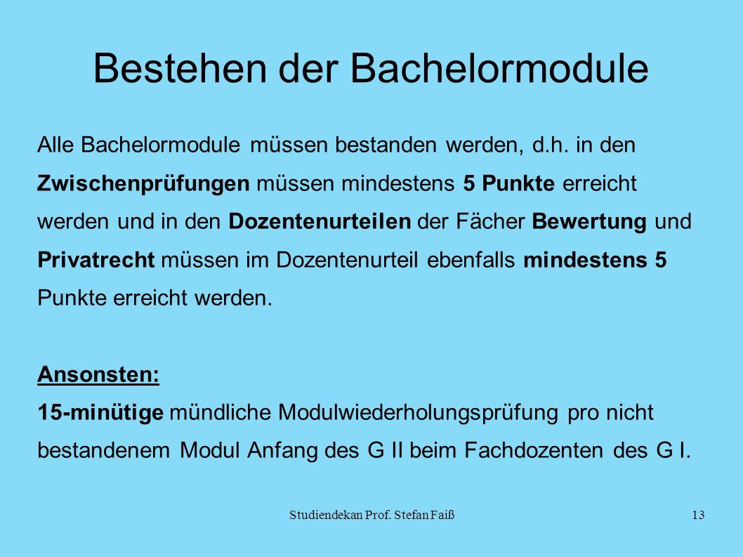 Bestehen der Bachelormodule Alle Bachelormodule müssen bestanden werden, d.h.