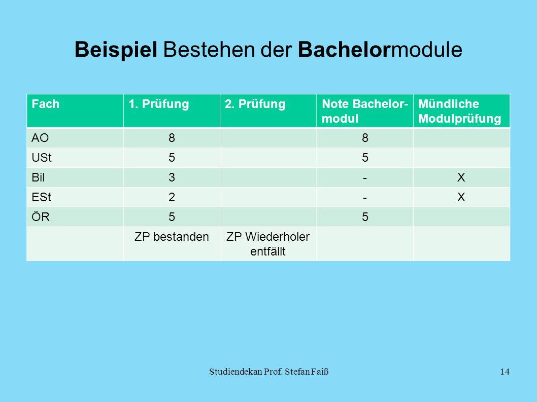 Beispiel Bestehen der Bachelormodule Fach1. Prüfung2.