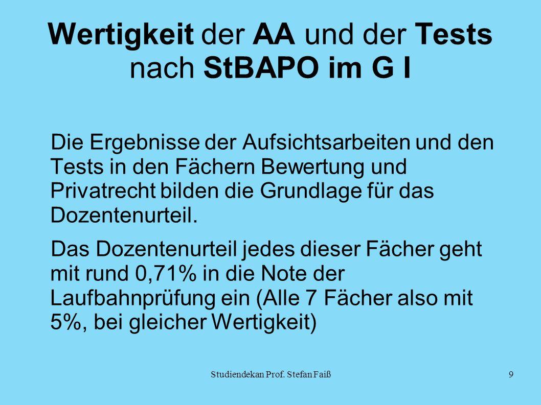 Wertigkeit der AA und der Tests nach StBAPO im G I Die Ergebnisse der Aufsichtsarbeiten und den Tests in den Fächern Bewertung und Privatrecht bilden die Grundlage für das Dozentenurteil.