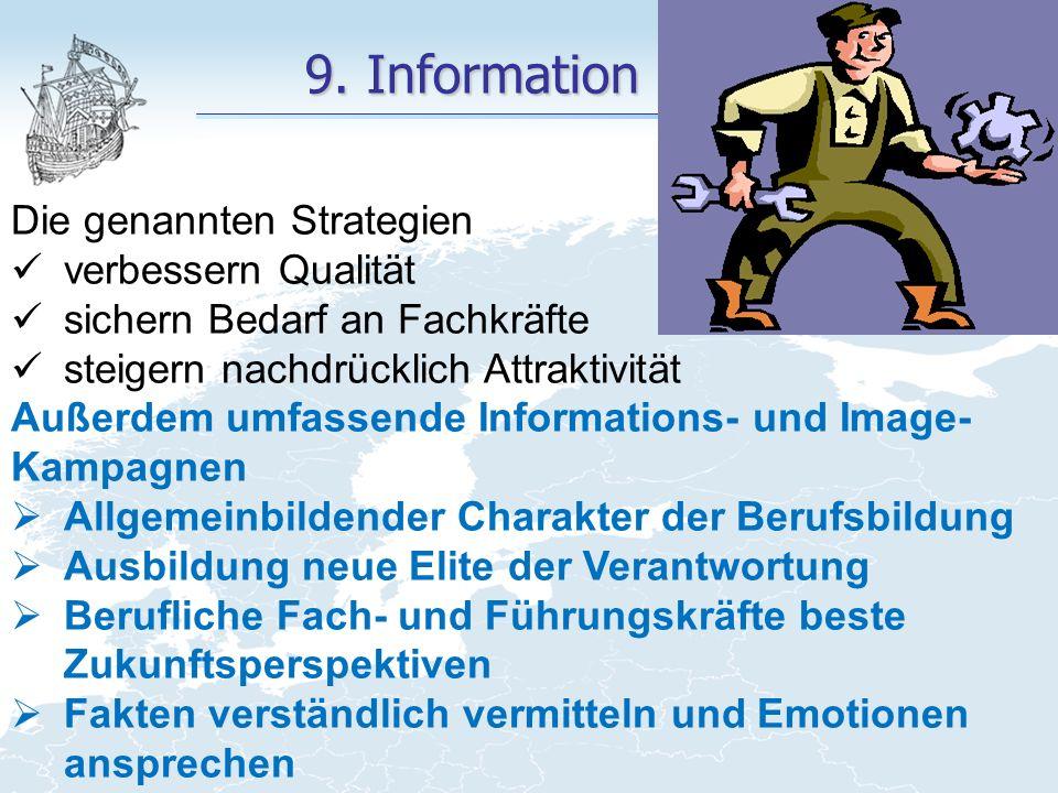 9. Information Die genannten Strategien verbessern Qualität sichern Bedarf an Fachkräfte steigern nachdrücklich Attraktivität Außerdem umfassende Info