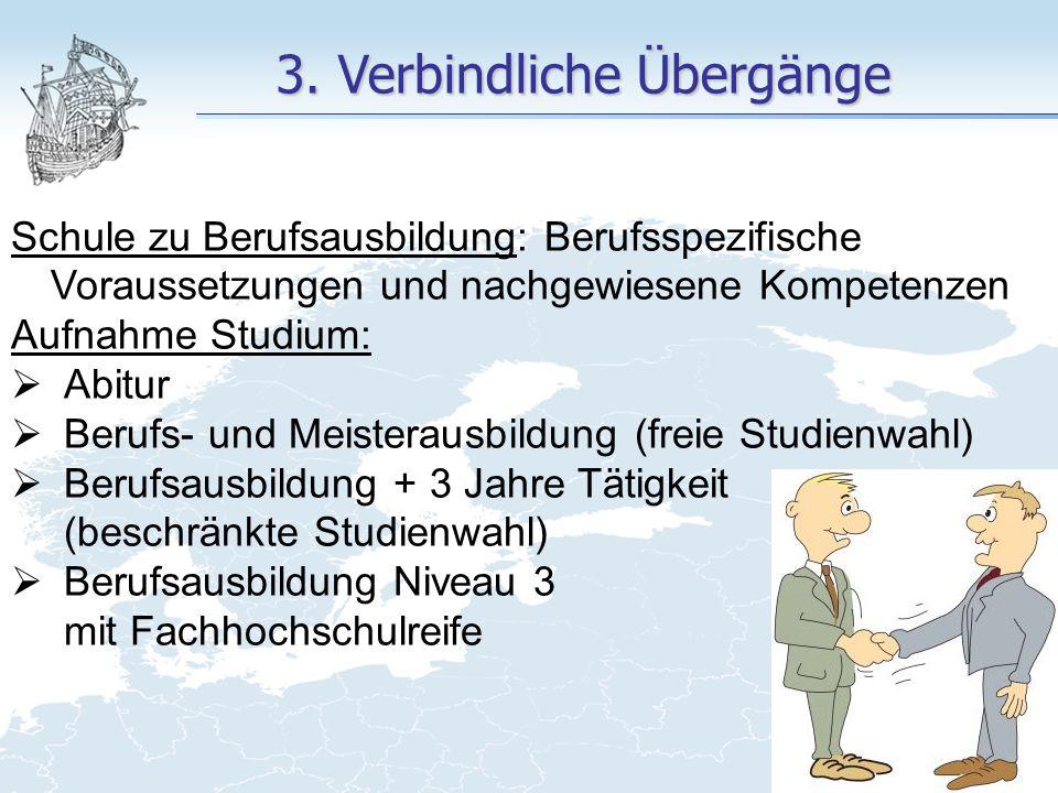 3. Verbindliche Übergänge Schule zu Berufsausbildung: Berufsspezifische Voraussetzungen und nachgewiesene Kompetenzen Aufnahme Studium:  Abitur  Ber