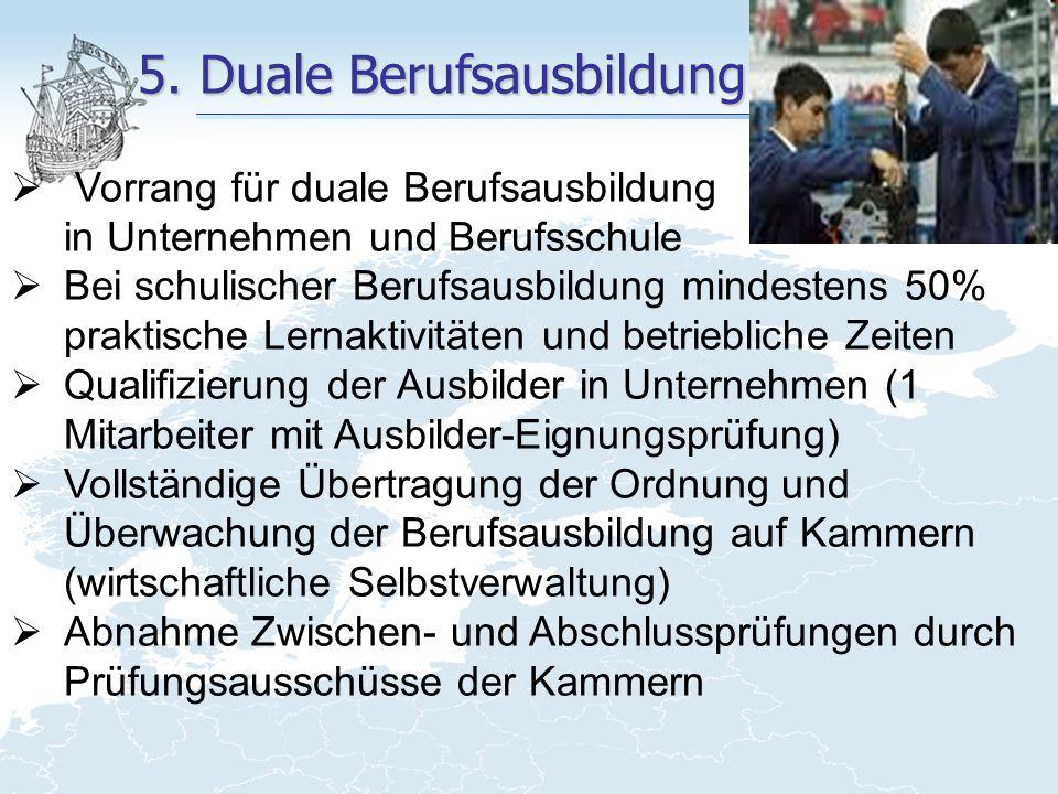 5. Duale Berufsausbildung  Vorrang für duale Berufsausbildung in Unternehmen und Berufsschule  Bei schulischer Berufsausbildung mindestens 50% prakt