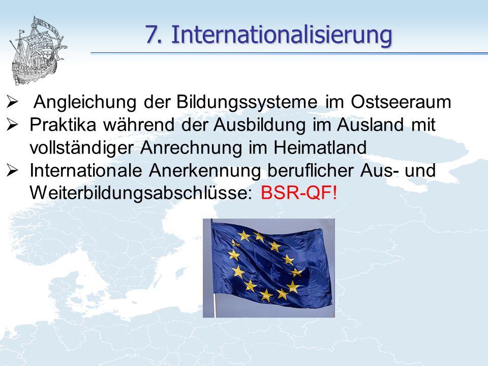 7. Internationalisierung  Angleichung der Bildungssysteme im Ostseeraum  Praktika während der Ausbildung im Ausland mit vollständiger Anrechnung im