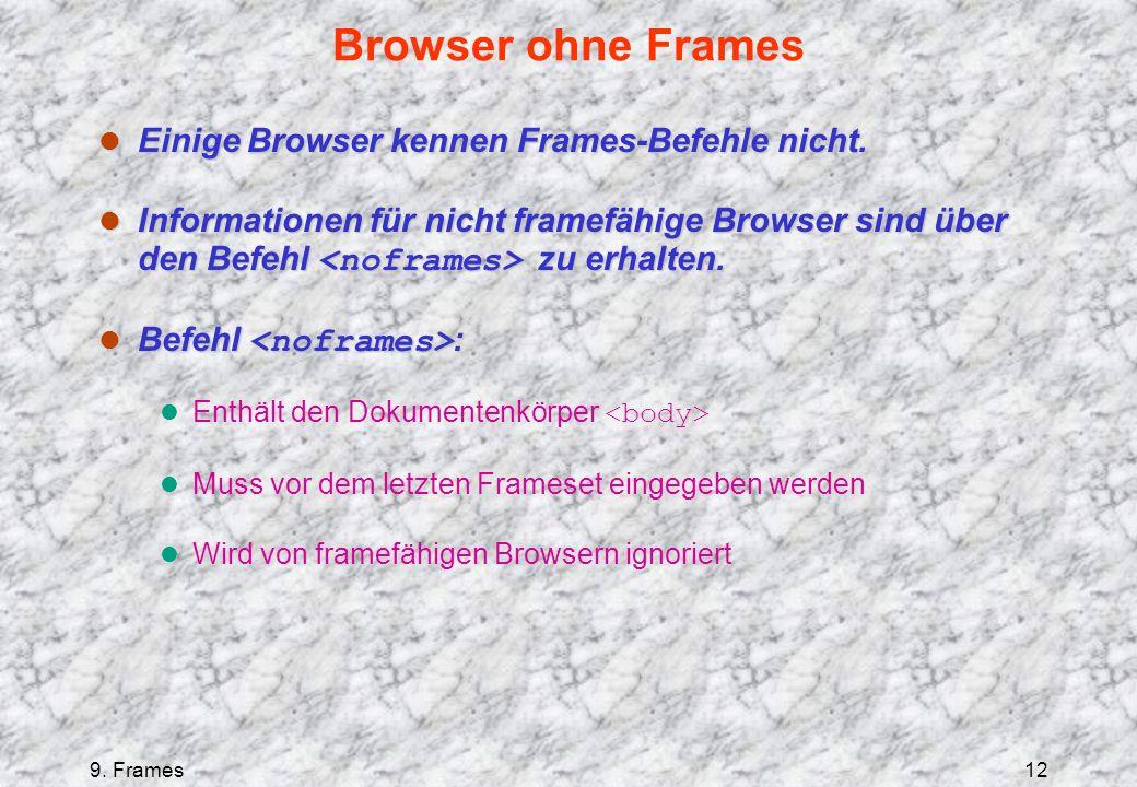 9. Frames12 Browser ohne Frames l Einige Browser kennen Frames-Befehle nicht.