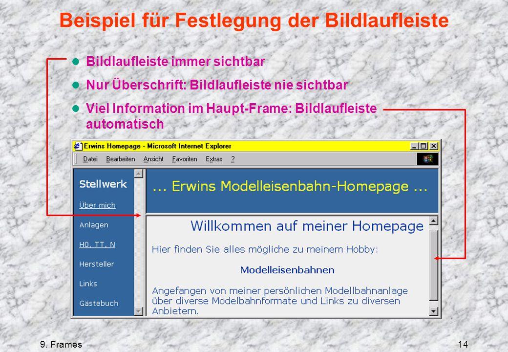 9. Frames14 Beispiel für Festlegung der Bildlaufleiste l Bildlaufleiste immer sichtbar l Nur Überschrift: Bildlaufleiste nie sichtbar l Viel Informati