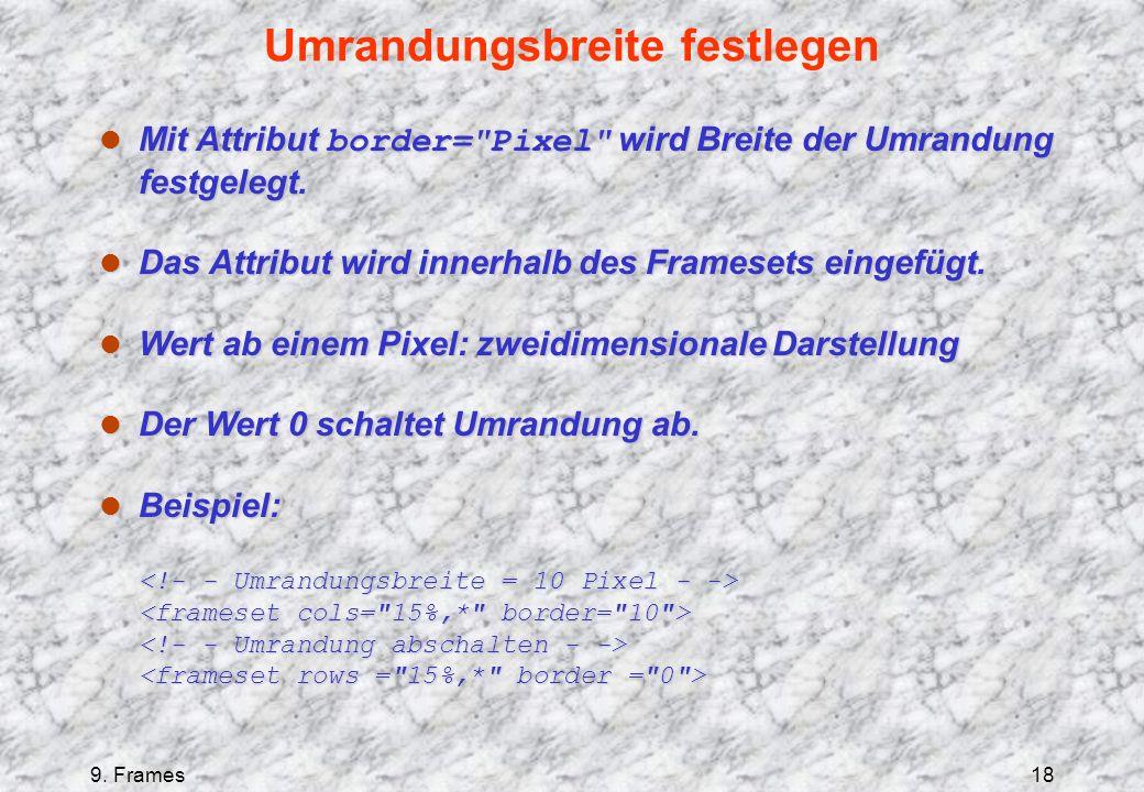 9. Frames18 Umrandungsbreite festlegen Mit Attribut border=