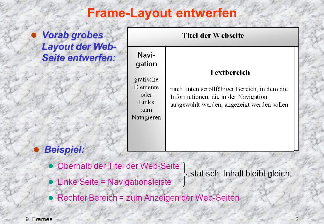 9. Frames2 Frame-Layout entwerfen l Beispiel: l Oberhalb der Titel der Web-Seite l Linke Seite = Navigationsleiste l Rechter Bereich = zum Anzeigen de